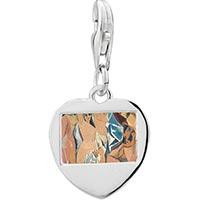 Link Charm Bracelet - 925  sterling silver beautiful womenphoto heart frame link charm Image.