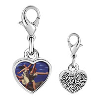 Link Charm Bracelet - 925  sterling silver woman running on the beach painting photo heart frame link charm Image.