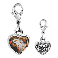 Link Charm Bracelet - 925  sterling silver moment of first explosion painting photo heart frame link charm Image.