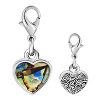 Link Charm Bracelet - 925  sterling silver construction with boiled beans painting photo heart frame link charm Image.