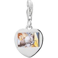 Link Charm Bracelet - 925  sterling silver graphic artsphoto heart frame link charm Image.