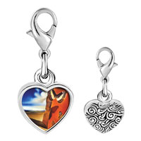 Link Charm Bracelet - 925  sterling silver landscape with butterflies painting photo heart frame link charm Image.