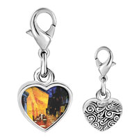 Link Charm Bracelet - 925  sterling silver cafe terrace at night painting photo heart frame link charm Image.
