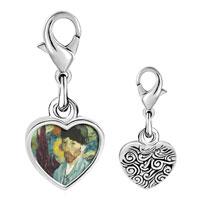 Link Charm Bracelet - 925  sterling silver caroline hero painting photo heart frame link charm Image.