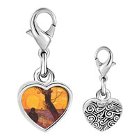 Link Charm Bracelet - 925  sterling silver the sower painting photo heart frame link charm Image.