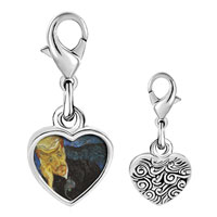 Link Charm Bracelet - 925  sterling silver portrait of dr.  gachet painting photo heart frame link charm Image.