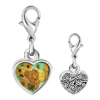 Link Charm Bracelet - 925  sterling silver vase with 12  sunflowers painting photo heart frame link charm Image.