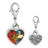 Link Charm Bracelet - 925  sterling silver poppies painting photo heart frame link charm Image.