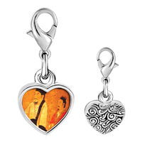 Link Charm Bracelet - 925  sterling silver emperor houzhu of chen photo heart frame link charm Image.