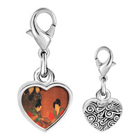 Link Charm Bracelet - 925  sterling silver ladies playing double sixes painting photo heart frame link charm Image.