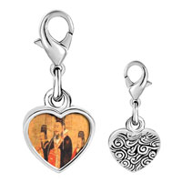 Link Charm Bracelet - 925  sterling silver emperor da of n wu painting photo heart frame link charm Image.