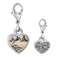 Link Charm Bracelet - 925  sterling silver mountains and pines in spring painting photo heart frame link charm Image.