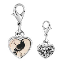 Link Charm Bracelet - 925  sterling silver bird painting photo heart frame link charm Image.