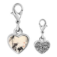 Link Charm Bracelet - 925  sterling silver bamboo painting photo heart frame link charm Image.