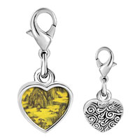 Link Charm Bracelet - 925  sterling silver don yuan mountain hall painting photo heart frame link charm Image.
