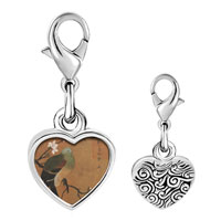Link Charm Bracelet - 925  sterling silver bird with flowerphoto heart frame link charm Image.