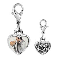 Link Charm Bracelet - 925  sterling silver self joyfulness painting photo heart frame link charm Image.