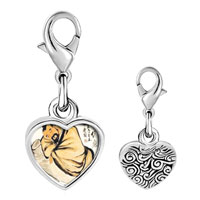 Link Charm Bracelet - 925  sterling silver steeling the wine vat painting photo heart frame link charm Image.