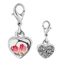 Link Charm Bracelet - 925  sterling silver peaches painting photo heart frame link charm Image.