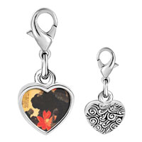 Link Charm Bracelet - 925  sterling silver red lotus painting photo heart frame link charm Image.