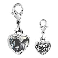 Link Charm Bracelet - 925  sterling silver galloping equestrian horse painting photo heart frame charm Image.