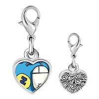 Link Charm Bracelet - 925  sterling silver sleep at work photo heart frame link charm Image.