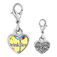 Link Charm Bracelet - 925  sterling silver drink less alcohol photo heart frame link charm Image.