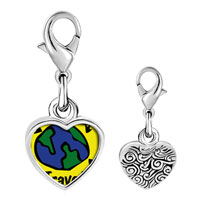 Link Charm Bracelet - 925  sterling silver travel more photo heart frame link charm Image.