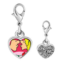 Link Charm Bracelet - 925  sterling silver couple kissing in love photo heart frame link charm Image.