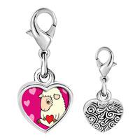 Link Charm Bracelet - 925  sterling silver sheep love photo heart frame link charm Image.