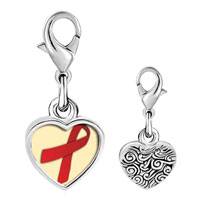 Link Charm Bracelet - 925  sterling silver red ribbon awareness photo heart frame link charm Image.