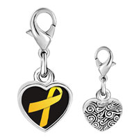 Link Charm Bracelet - 925  sterling silver yellow ribbon awareness photo heart frame link charm Image.