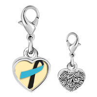 Link Charm Bracelet - 925  sterling silver black and blue ribbon awareness photo heart frame link charm Image.