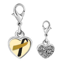 Link Charm Bracelet - 925  sterling silver black and gold photo heart frame link charm Image.