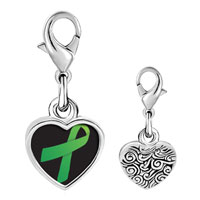 Link Charm Bracelet - 925  sterling silver green ribbon awareness photo heart frame link charm Image.