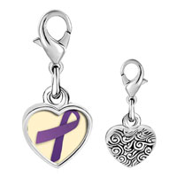 Link Charm Bracelet - 925  sterling silver purple ribbon awareness photo heart frame link charm Image.
