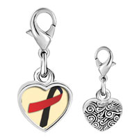Link Charm Bracelet - 925  sterling silver black and red ribbon awareness photo heart frame link charm Image.