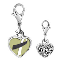 Link Charm Bracelet - 925  sterling silver black and white ribbon awareness photo heart frame link charm Image.
