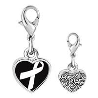 Link Charm Bracelet - 925  sterling silver white ribbon awareness photo heart frame link charm Image.