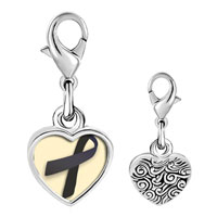 Link Charm Bracelet - 925  sterling silver black ribbon awareness photo heart frame link charm Image.