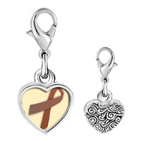 Link Charm Bracelet - 925  sterling silver brown ribbon awareness photo heart frame link charm Image.