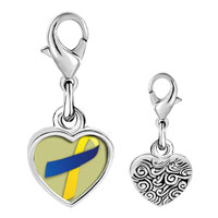 Link Charm Bracelet - 925  sterling silver blue and yellow ribbon awareness photo heart frame link charm Image.
