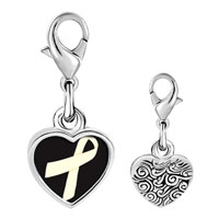 Link Charm Bracelet - 925  sterling silver pearl and white ribbon awareness photo heart frame link charm Image.