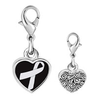 Link Charm Bracelet - 925  sterling silver silver ribbon awareness photo heart frame link charm Image.