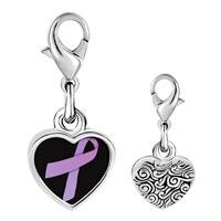 Link Charm Bracelet - 925  sterling silver lavender ribbon awareness photo heart frame link charm Image.