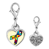 Link Charm Bracelet - 925  sterling silver jigsaw puzzle ribbon awareness photo heart frame link charm Image.