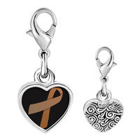 Link Charm Bracelet - 925  sterling silver copper ribbon awareness photo heart frame link charm Image.