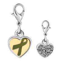 Link Charm Bracelet - 925  sterling silver olive green ribbon awareness photo heart frame link charm Image.
