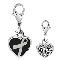 Link Charm Bracelet - 925  sterling silver gray ribbon awareness photo heart frame link charm Image.
