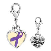 Link Charm Bracelet - 925  sterling silver violet ribbon awareness photo heart frame link charm Image.